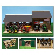 Wooden Cattle Stable with Farm Shed