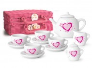 Pink and White Porcelain Tea Set