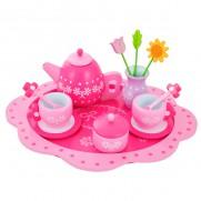 Wooden Flower Tea Set