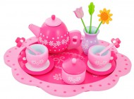 Wooden Flower Tea Set